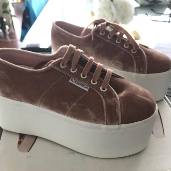 Superga Shoes   Blush Velvet Platform